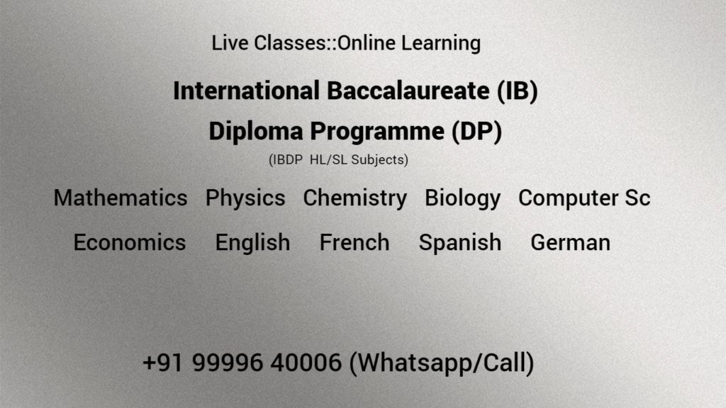 IB Diploma Tutors Tuition Coaching All Subject Online Class